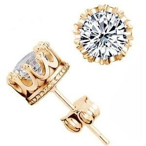 Jewelry - Crown 18K Gold Plated Stud Earrings